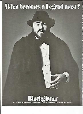 1981 Luciano Pavarotti photo Blackglama fashion vintage print ad