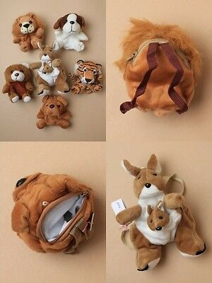 Pack Of 6 Soft Animal Purses / Wrist Bags With Zip And Handles : Sp-6525 Pk6