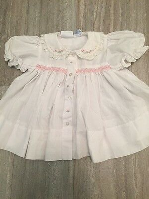 Darling Vintage Baby Dress Babycrest Smocked And Embroidered 3-6 Mo.