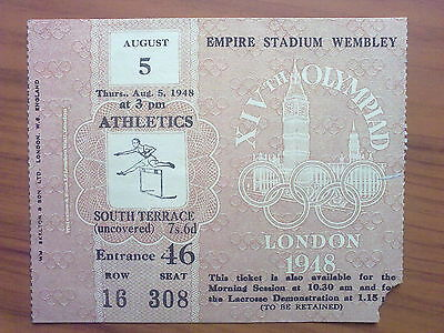 Ticket Olympic Games LONDON 1948 - ATHLETICS 05.08.1948 (1)