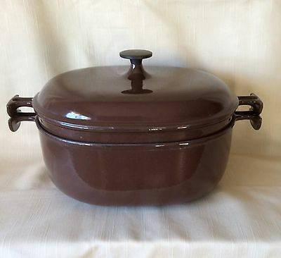 "Large Le Creuset ""Enzo Mari"" Two-in-one Casseroles. Mocha.1970s"