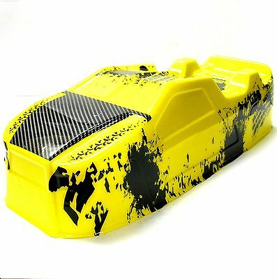 BS214-003Y 1/10 Scale RC Nitro Monster Truck Truggy Body Shell Cover Yellow