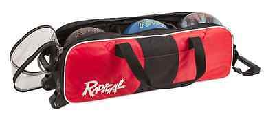 Radical Triple 3 Ball Tournament Tote Bowling Bag with wheels Color Red