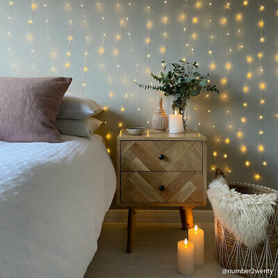 2 x 2m LED Plug In Firefly LED Copper Wire Curtain Light | Bedroom Wall Decor