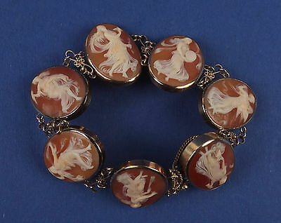 Antique 14K Gold Bracelet with 7 Shell Cameo Decorated with Dancing Young Girls