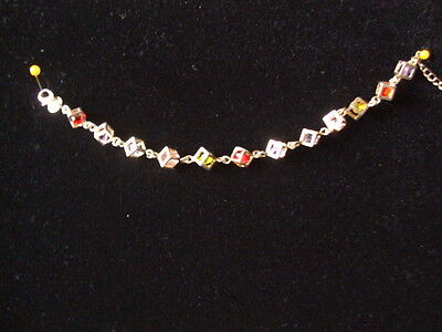 """Silver Bracelet With Stones  7.5"""" + Extender Chain"""