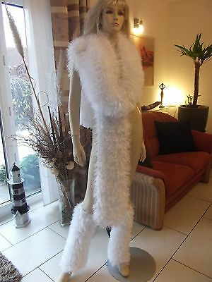 HUGE NO Mohair Schal Scarf Tube Stockings Cuffs soft weiß dick thick 1,6kg  NEU