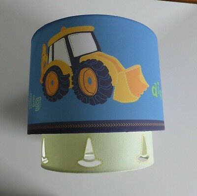 NEXT boys blue and yellow lamp shade with diggers