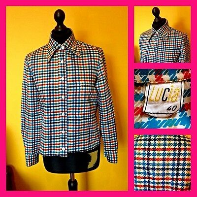 Vintage 70's Lucia Dogtooth Houndstooth Shirt Blouse UK 14 Mod Scooter Carnaby