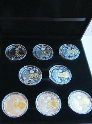 Anniversary of the Guinea - 8 silver proof coins dated 2013 featuring Monarchs