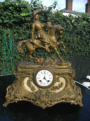 19th Century Gilt Metal Figural Mantle Clock with Cavalier on Horseback