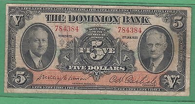1935 The Dominion Bank 5 Dollar Note - Fine - Chartered Bank Note