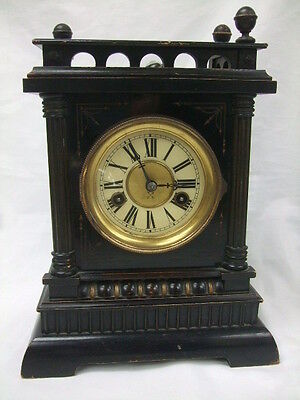 H A C Wuettemberg 14 Day Strike Vintage Antique Oak Case Mantel Clock No. 7141