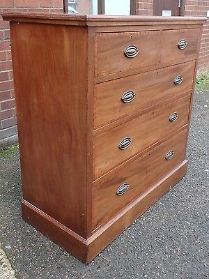 Edwardian antique solid mahogany crossbanded bedroom storage chest of 5 drawers