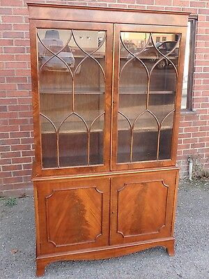 GeorgeIII Sheraton antique style flame mahogany astragal glazed library bookcase