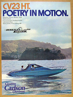 1978 Glastron Carlson CV-23 HT hardtop boat color photo vintage print Ad