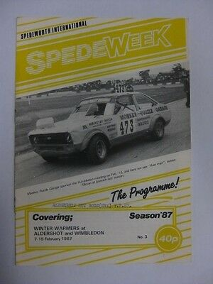 SpedeWeek Hot Rods Aldershot 7th Feb.1987 Programme