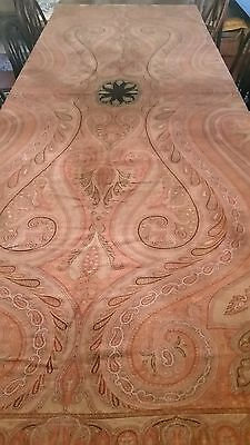 "Antique 1800s Colorful Wool Paisley Tablecloth,Throw,Fabric 58"" X 120"""