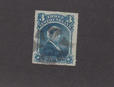 NEWFOUNDLAND # 39 VF-3cts QUEEN VICTORIA WITH FANCY CORK CANCEL