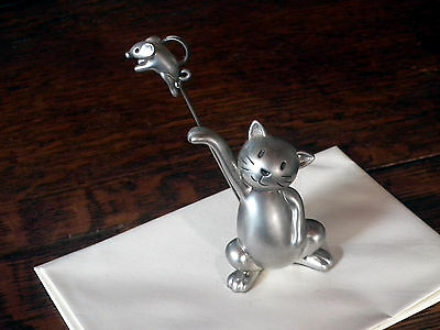 silver pewter cat & mouse PAPERWEIGHT