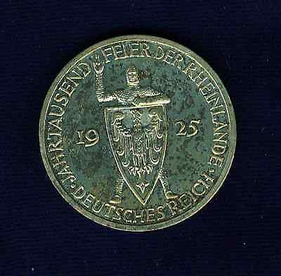 Germany Weimar Republic 1925-F  3 Reichsmark Silver Proof Coin