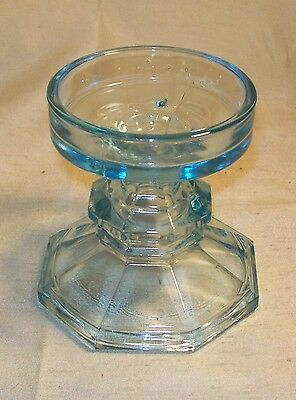 Vintage ~ Hand Crafted ~ LE Smith – Depression Glass Large Candle Holder ~ Azure