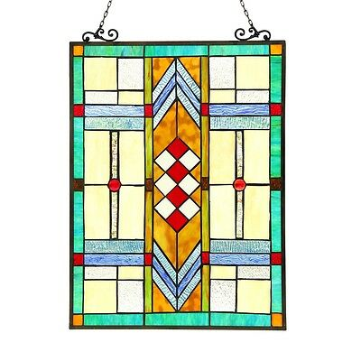 "Handcrafted Stained Glass Tiffany Style Window Panel Arts & Crafts 17.5"" x 25"""