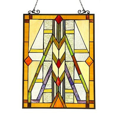 Handcrafted Stained Glass Tiffany Style Window Panel Mission Arts & Crafts