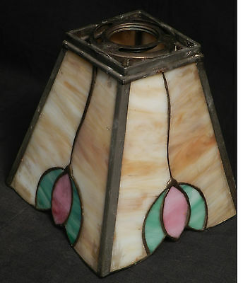 Antique Arts Crafts Leaded Art Glass Shade Floral Tulip Caramel Slag Chandelier
