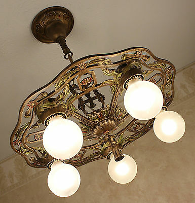 "RARE ANTIQUE VINTAGE 18"" CAST IRON 20's ART DECO CHANDELIER"