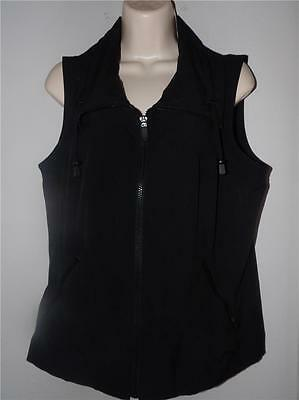 zenergy by chicos poly black zip vest top size 1 s m