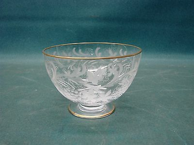 Fine Vintage Etched Glass Bowl w/ Gold Rim Grapes Signed Wo ...etti???