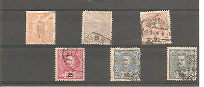 1895  king carlos  PORTUGAL  6  used stamps