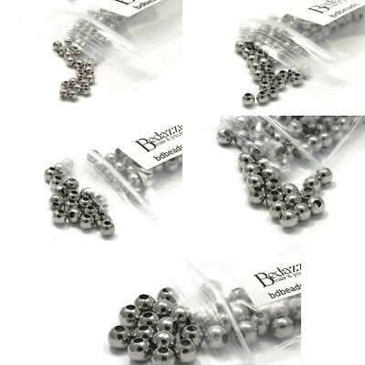 100 Surgical 304 Stainless Steel Silver Round Spacer Ball Beads Small - Big