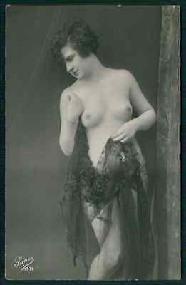 French nude woman black lace veil original c1910-1920s erotic photo postcard
