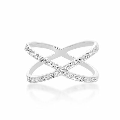 Real 925 Sterling Silver & Clear CZ Crystal Criss Cross Ring Sizes K - X