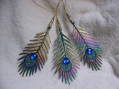 Peacock Feather Fashion Ornaments - Tropical Tiki Set of 3 Iridescent Jeweled