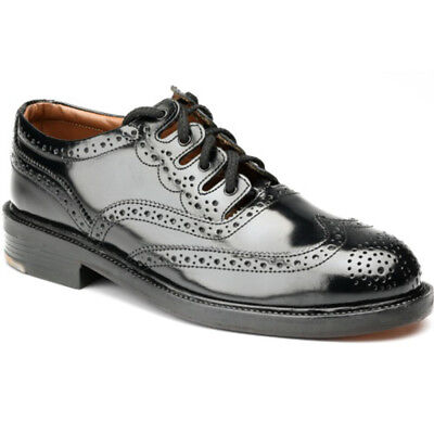 New Scottish Leather Kilt Shoes Thistle - Standard Ghillie Brogue - Black - UK