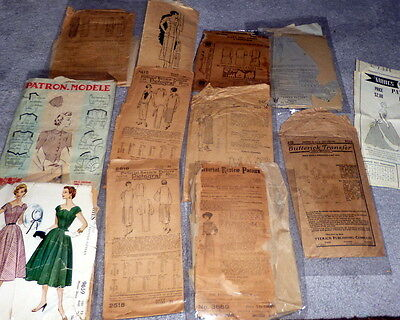 RARE VTG 1910s 1920s 30s 40s 50s Sewing Pattern LOT *NOT COMPLETE TLC* Lot #7