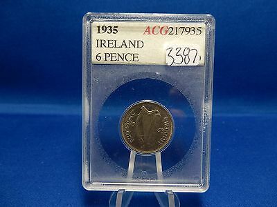 1935 Ireland 6-Pence Coin - About Uncirculated KM# 5