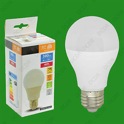 2x 4W [= 25W] Cool White A60 GLS ES LED Light Bulb Lamp, E27 Edison Screw