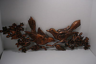 Vintage Syroco Copper Colored Birds & Flowers Wall Plaques
