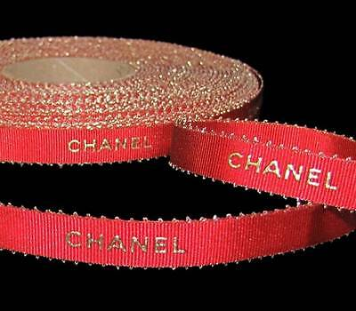 """100% Authentic Chanel Brand Red Gold Lettering Picot Feather Edge Ribbon 1/2"""" W"""