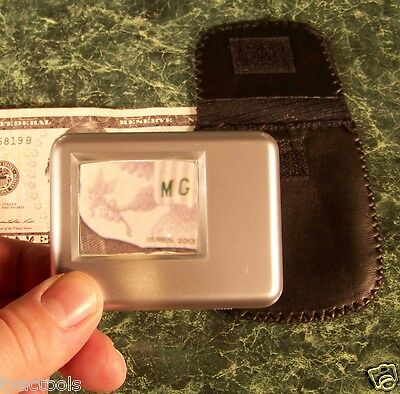 5x SQUARE Portable MAGNIFIER GLASS with LIGHT and CASE Batteries Included 2-1/4""