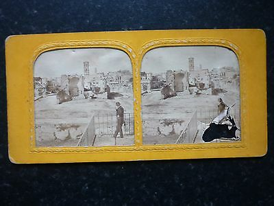 Stereoview Tissue Colour Tint Nice Early Image Man Overlooks Ruins Rome Italy