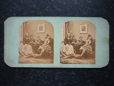 Stereoview Nice Early Image Family Gathering At Dinner London Stereoscopic Comp