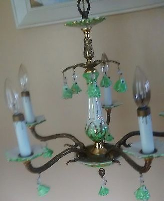vintage chandelier porcelain brass Spain Rose's prisms