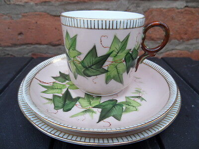 TRIO Teacup Set China   Pretty Pink with Green Ivy Design   VINTAGE Good Cond  4