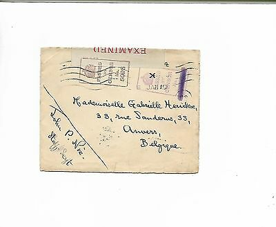 WW1 1919 Envelope to Belgium with Passed by Censor Mark & Examined Label