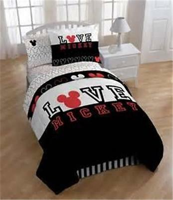 New Kids Disney Mickey Mouse Love Black White Red Twin Comforter Bed Bedding